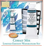 The M. Graham Cobalt Limited Edition Watercolor Set contains: Cerulean Blue Deep, Cobalt Violet, Cobalt Blue, Cobalt Teal and Cobalt Green.