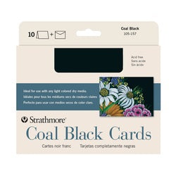 "Strathmore Coal Black Cards with Envelopes 5"" X 6.875"" 10 Pack"