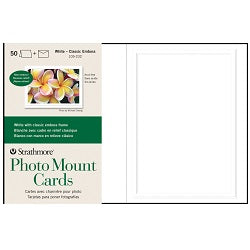 "Strathmore Photo Mount Cards with Envelopes - Classic White Embossed 5"" x 7"" - 50 Pack"