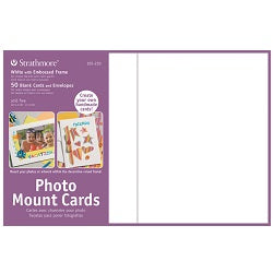 "Strathmore Photo Mount Cards with Envelopes - White Embossed 5"" x 7"" - 50 Pack"