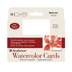 "Strathmore Watercolor Cards with Envelopes - Announcement Size  3.5"" x 4.875"" - 10 Pack"