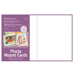 Strahmore Photo Mount Cards with Envelopes - White Embossed - 100 pack