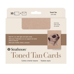 "Strathmore  Cards with Envelopes - Toned Tan Paper - 5"" X 6.875"" 10 Pack"