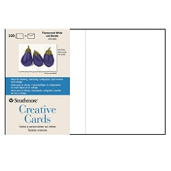 "Strathmore Creative Cards 5"" X 6.875"" with Envelopes - Fluorescent White Deckled Edge - 100 Pack"