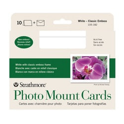 Strahmore Photo Mount Cards with Envelopes - White Embossed - 10 pack