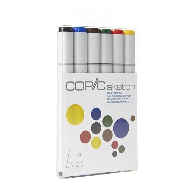 Copic Markers 6-Piece Sketch Set Bold Primaries ~ New ~