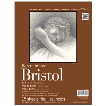 "Strathmore 400 Series Smooth Bristol - 15 Sheet Pad - 9"" x 12"""