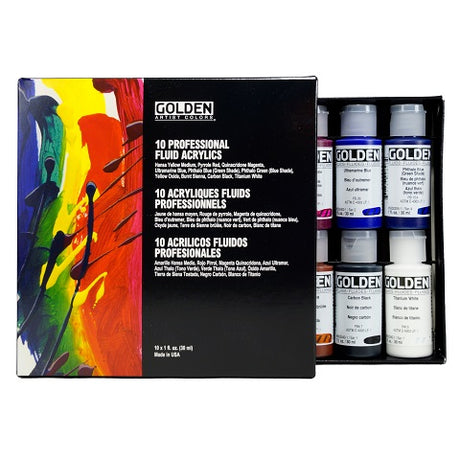 Golden Fluid Acrylic set of 10 Colors in 1 fluid ounce bottles