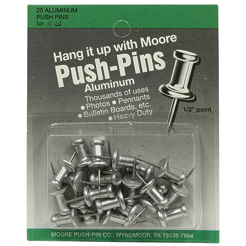 "Moore Aluminum Push Pins - 5/8"" Point"