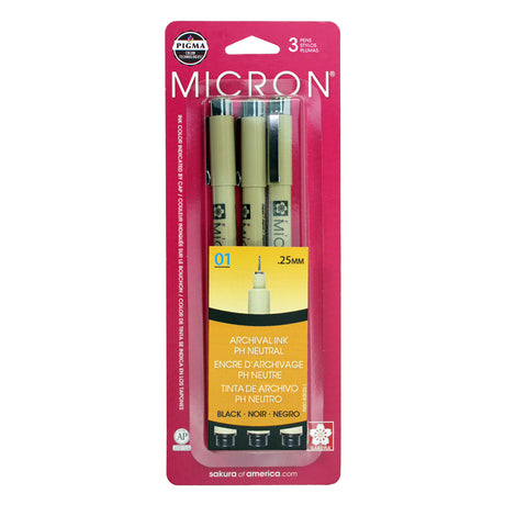 Sakura Pigma Micron Set 01 (.25mm) Black - 3 Pen Set