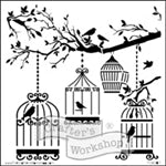 Crafters Workshop Stencil 6X6 - Birds Of A Feather