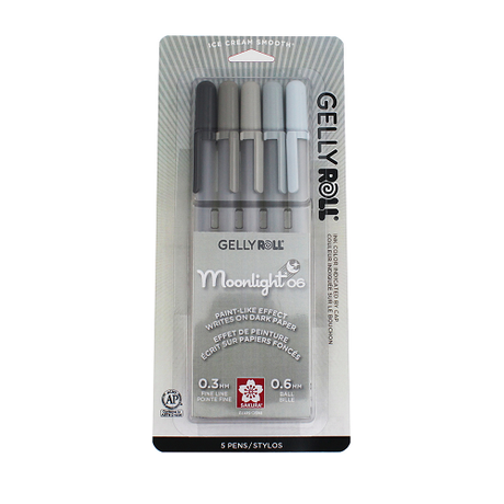 Gelly Roll Moonlight Fine 06 - 5 color Grays Set
