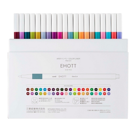 Uni Emott Ever Fine Pen 0.4mm - 40 Pen Complete Set