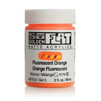 Golden SoFlat Matte Acrylic Paint - Fluorescent Orange 2 oz jar
