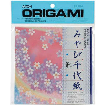 Aitoh Floral 5 Pattern Origami Paper 48 Sheet Pack