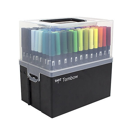 Tombow Dual Brush Pen 108 Color Set with Marker Case