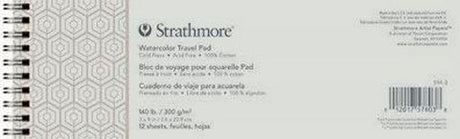 "Strathmore Watercolor Travel Pad  - 140 lb, 12 Sheets 3"" x 9"""