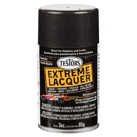 Testors Extreme (one coat) Spray Lacquer 3 oz - Blazing Black (ORM-D)