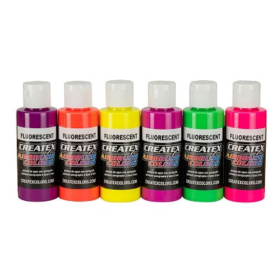 Createx Airbrush Colors  Set of 6 Fluorescent Colors