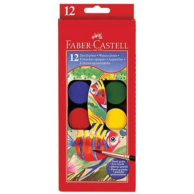 Faber-Castell Watercolor Paint Set - 12 Colors with Brush