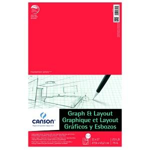 canson graph layout paper pad 8 sq per inch 11x17