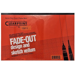 Clearprint Fade-Out Vellum Pad - Gridded 10 sq per inch 11X17