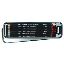 Derwent Charcoal Pencil set of 6 in metal tin