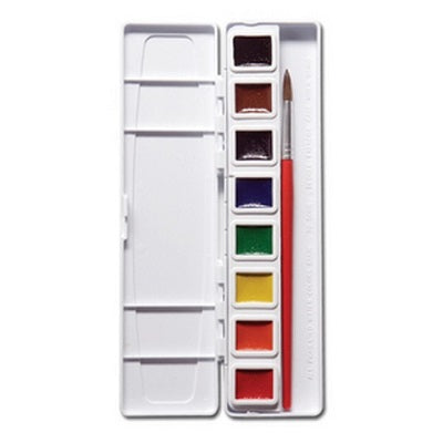 Prang Semi-Moist Watercolors Half Pan 8 Color Set with Brush