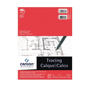 Canson Tracing Pad 25 lb - 50 Sheets  9X12
