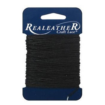 Realeather Waxed Thread for leather crafting - 25 yards Black