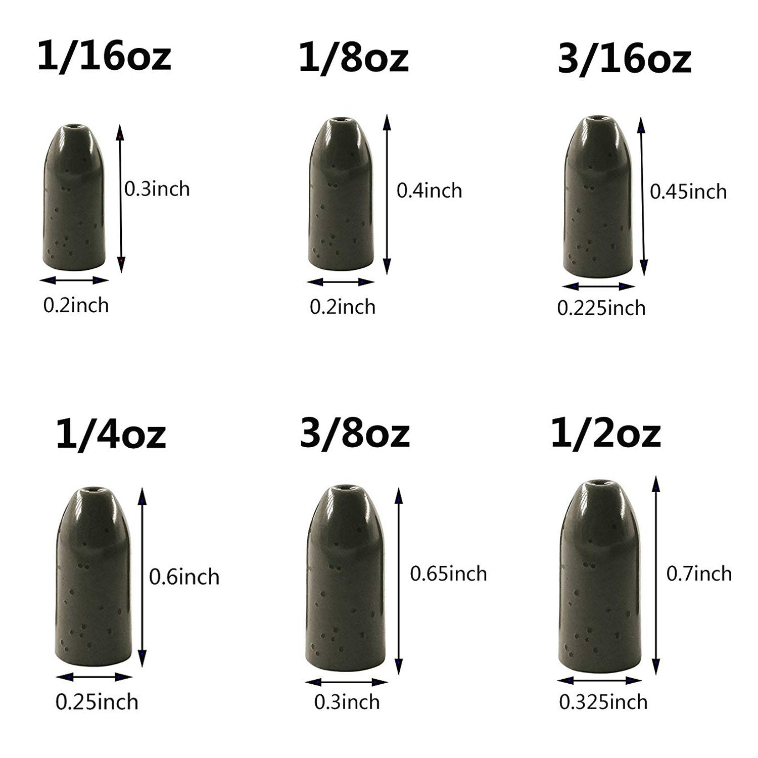 10pcs Tungsten Bullet Worm Weight Fishing Pitching and