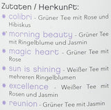 "tea exclusive - Teeblumen-Mix ""Flower Fantasy"", 6 versch.Teeblumen in Metalldose,mit Foto-Booklet und Spruechen - gruener u. weisser Tee mit Jasmin, Rose, Pfingstrose, Ringelblume, Osmanthus, Hibiskus"