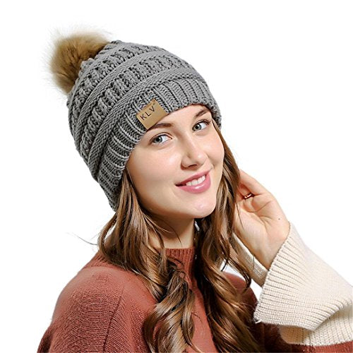 Weihnachtsgeschenk Winter Strickmütze SHOBDW Männer Frauen Baggy Warm Crochet Winter Wolle Stricken Ski Beanie Schädel Slouchy Caps Hut (B-Grau)