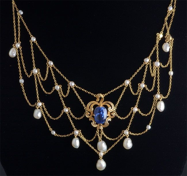 Estate Jewelry Sapphire and Pearl Necklace