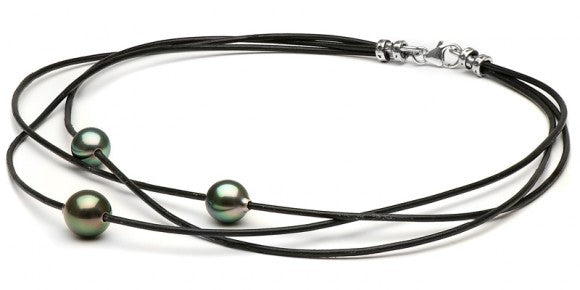 Pearl Product Spotlight: Braided Tahitian Drop Pearl on Leather Necklace