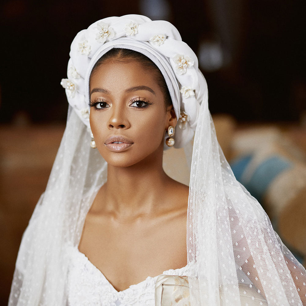 African Bride with Pearl Accented Turban and Earrings