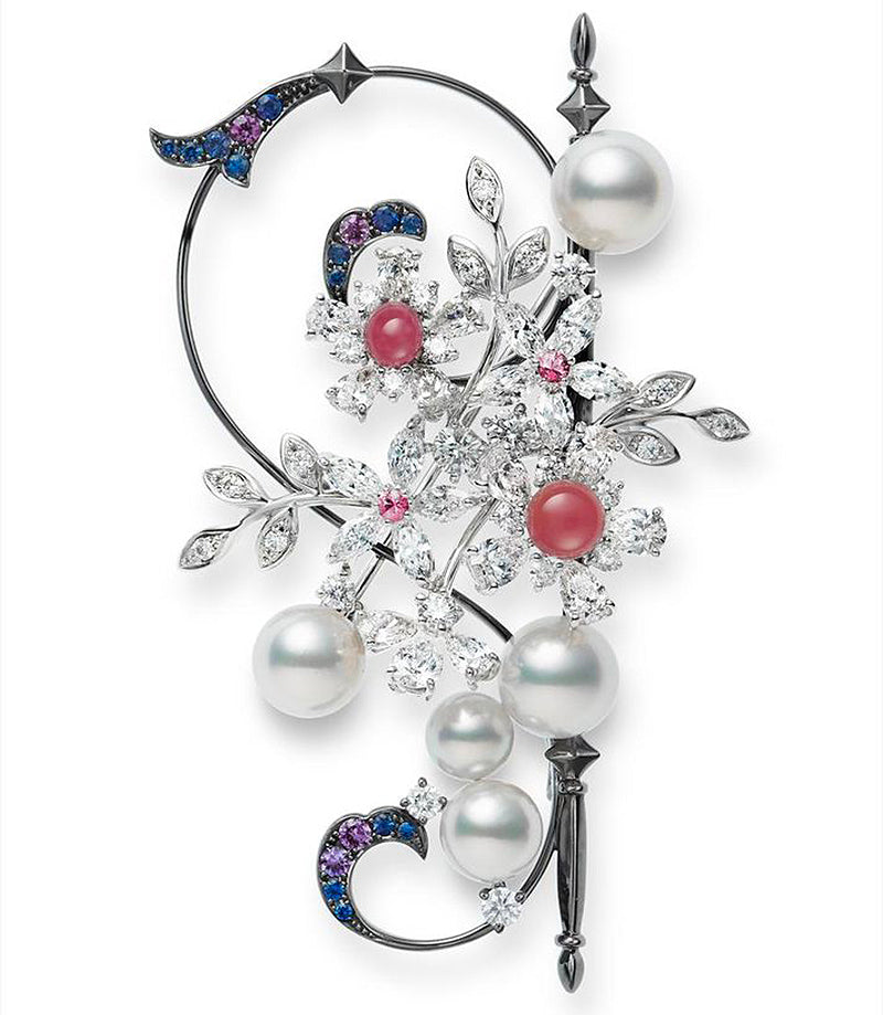Mikimoto Conch and Akoya Pearl Brooch with Sapphires and Diamonds