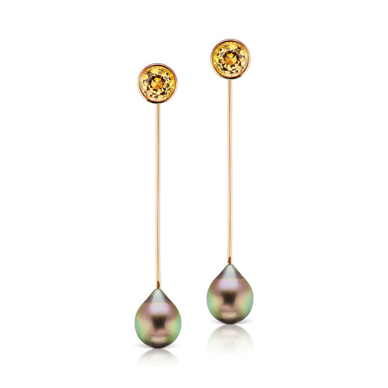 Pure Inspiration: Tahitian Drop-Shaped Pearl and Yellow Tourmaline Dangle Earrings, Jewelry by Assael