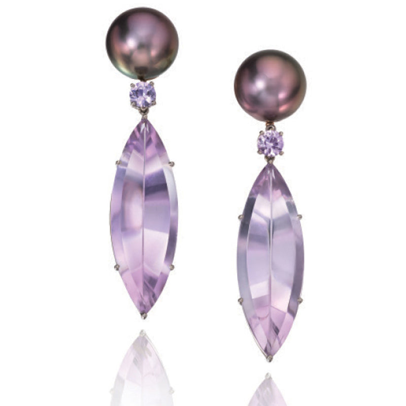 Tahitian Pearl and Amethyst Dangle Earrings by Assael