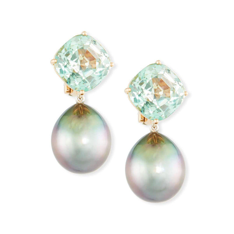 Assael Tahitian Pearl and Tourmaline Dangle Earrings