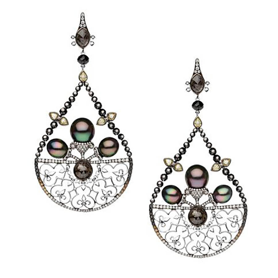Tahitian Pearl and Diamond Venetian Earrings by Autore