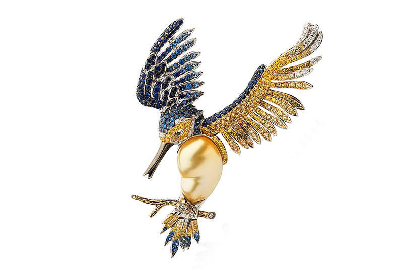 """Hummingbird"" Golden South Sea Baroque Pearl, Sapphire & Diamond Brooch by Autore"