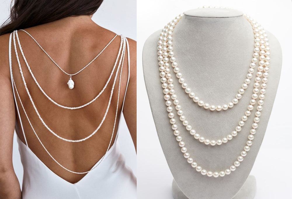Pearl Rope Necklace for Backless Dress