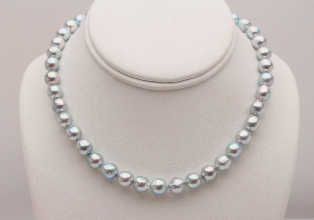 Blue Akoya Pearl Necklace on Bust