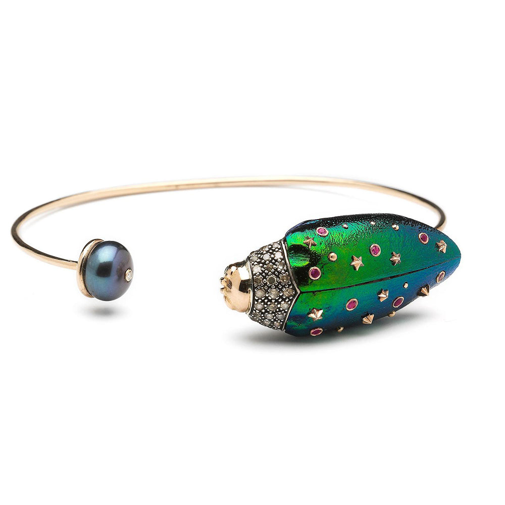 Black Pearl, Diamond and Enamel Scarab Bracelet