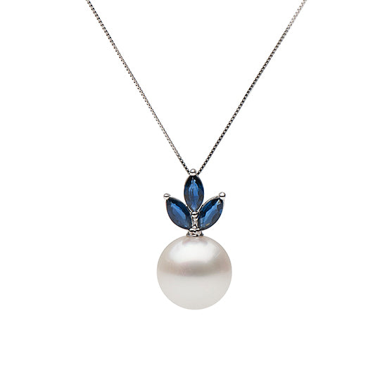 Sapphire and South Sea Pearl Pendant Custom Design