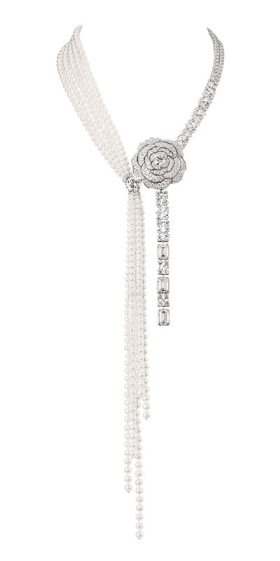 Chanel Pearl and Diamond Camelia Necklace