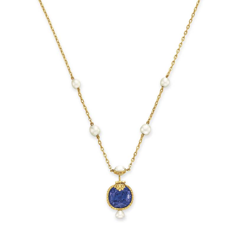 Christies Color-Change Sapphire and Pearl Pendant