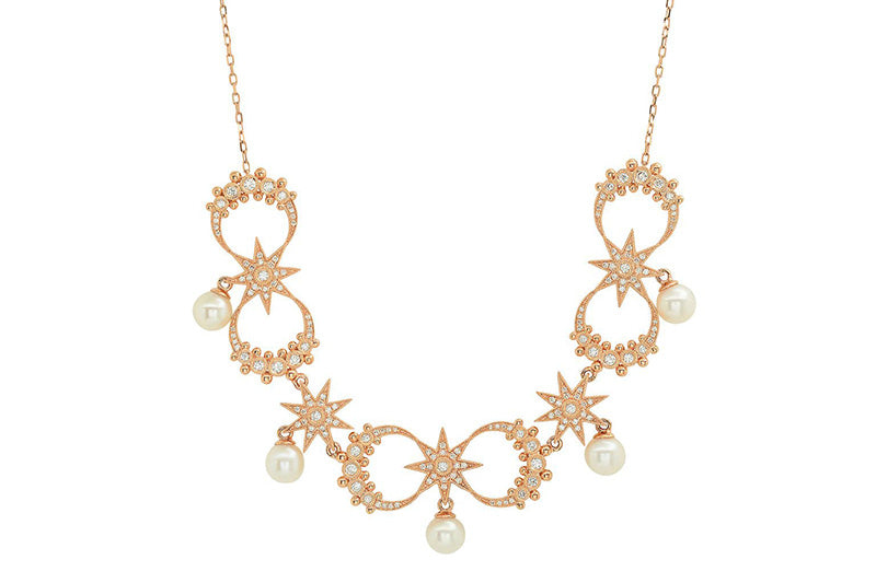 """Galaxia"" White Japanese Akoya Pearl and Diamond Necklace, Yellow Gold"