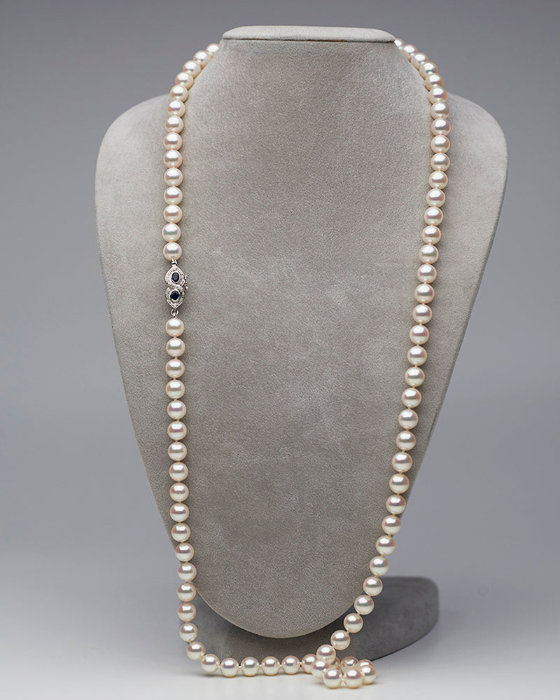 Akoya Pearl Necklace with Sapphire Clasp